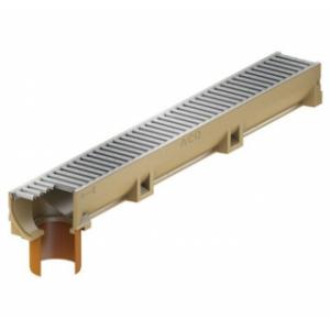 Канал ACO SELF Euroline из полимербетона с отформованным отверстием под выпуск DN 100 в сборе c оцинкованной решеткой (ДхШхВ) 100х11