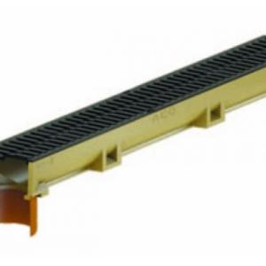 Канал ACO SELF Euroline из полимербетона со встроенным отводным патрубком DN 110 в сборе с чугунной решеткой (ДхШхВ) 100х11