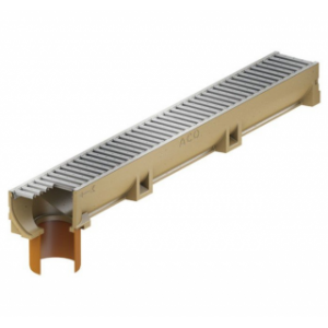 Канал ACO SELF Euroline Euromini из полимербетона с отформованным отверстием под выпуск DN 100 в сборе c оцинкованной решеткой (ДхШхВ) 100х11