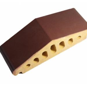 Клинкерный профильный кирпич K25, цвет вишневый, размер 310*110*85мм