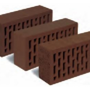 Керамический пустотелый кирпич темно-коричневый рустик гладкий 250*120*65 мм