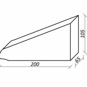 Клинкерный профильный кирпич K20, цвет графит, размер 210*65*100мм