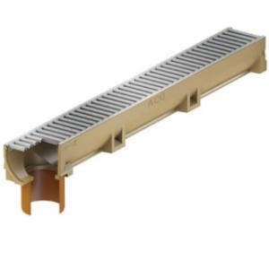 Канал ACO SELF Euroline Euromini из полимербетона со встроенным отводным патрубком DN 110 в сборе с оцинкованной решеткой (ДхШхВ) 100х11
